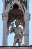 Saint George. Statue, detail of the facade of the Saint Mark`s Basilica, St. Mark`s Square, Venice, Italy, UNESCO World Heritage Site Royalty Free Stock Photo