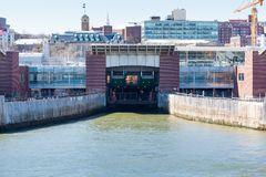 Saint George Terminal. STATEN ISLAND, NEW YORK - March 29, 2017: One of the slips at the St. George Terminal for the Staten Island Ferry Fleet Royalty Free Stock Images