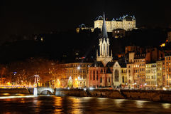 Saint georges church next to the Saone river at night. Saint georges church next to the Saone river on fourviere hill at night Royalty Free Stock Photo