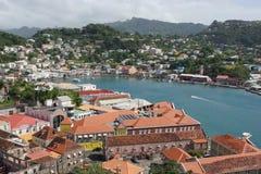 Saint Georges, Grenada, Caribbean. SAINT GEORGES, GRENADA - DECEMBER 14, 2013: Panorama view over Saint Georges on December 14, 2013 in Grenada, Caribbean royalty free stock photos