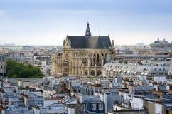 Saint-Germain l'Auxerrois church with Paris Skyline Stock Photo