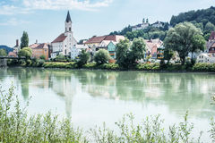 Saint Gertraud church and Sanctuary Mariahilf on the hill in Pas Stock Photos