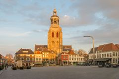 Saint Gertrude church in Bergen op Zoom. During sunset, the Netherlands royalty free stock photography