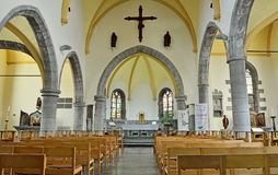 Saint Gery church in Ronquieres, Belgium. RONQUIERES, BELGIUM-JUNE 30, 2014: Interior of Saint Gery church, commune Braine-le-Comte, province Hainaut in Walloon Stock Image