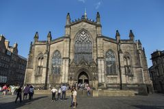 Saint Giles Church on the royal mile Edinburgh. EDINBURGH - SCOTLAND, 26th May 2017 - St.Giles Cathedral, High Church, and statue to the Fifth Duke of Buccleuch Stock Image