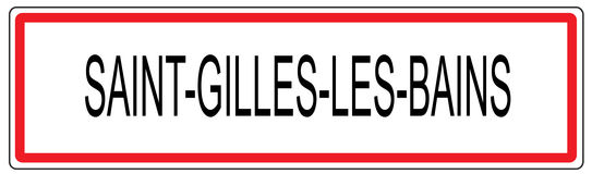 Saint Gilles les Bains city traffic sign illustration in France Stock Photography
