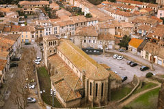 Saint Gimer church and the modern village. Carcassonne. France Royalty Free Stock Photo