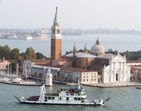 Saint Giorgio Maggiore island air view Royalty Free Stock Photos