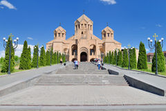 Saint Gregory The Illuminator. YEREVAN, ARMENIA - MAY 2, 2015:Saint Gregory The Illuminator is largest Armenian Cathedral and the symbol of the 1700th Stock Photo
