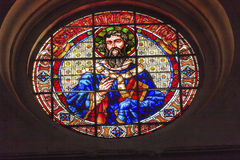 Saint Gregory Stained Glass Basilica Cathedral Andalusia Granada. Spain.  Saint Gregory was a pope in Catholic Church in the 500-600AD.  He is the patron saint Stock Images