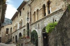 Saint-Guilhem-le-Desert (France). Saint-Guilhem-le-Desert (Herault, Languedoc-Roussillon, France): typical buildings of the medieval village royalty free stock photos