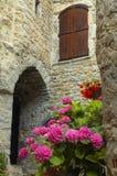 Saint-Guilhem-le-Desert (France). Saint-Guilhem-le-Desert (Herault, Languedoc-Roussillon, France): typical buildings of the medieval village stock photo