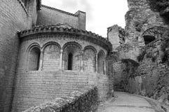Saint-Guilhem-le-Desert (France). Saint-Guilhem-le-Desert (Herault, Languedoc-Roussillon, France): typical buildings of the medieval village. Black and white royalty free stock photo