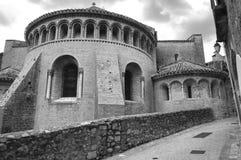 Saint-Guilhem-le-Desert (France). Saint-Guilhem-le-Desert (Herault, Languedoc-Roussillon, France): typical buildings of the medieval village. Black and white royalty free stock photos