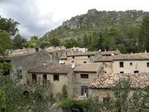Saint-guilhem-le-desert, a village in herault, languedoc, france stock photo