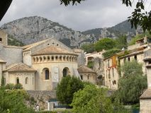 Saint-guilhem-le-desert, a village in herault, languedoc, france royalty free stock photo