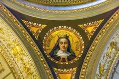 Saint Hedwig Mosaic Saint Stephens Cathedral Budapest Hungary. Saint Hedwig Mosaic Basilica Saint Stephens Cathedral Budapest Hungary.  Cathedral built in the Stock Photo
