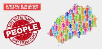 Saint Helena Island Map Population Demographics e selo sujo ilustração stock