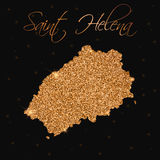 Saint Helena map filled with golden glitter. Royalty Free Stock Photo