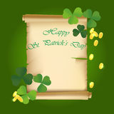 Saint heureux Patrick Day Text Background Illustration Symbole chanceux d'oxalide petite oseille traditionnel Collection de calib Photo stock