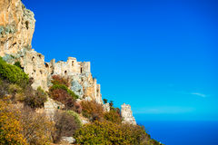 Saint Hilarion Castle on a cliff above the Mediterranean Sea. Ky. Renia, Cyprus stock images