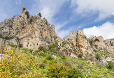 Saint Hilarion Castle, Kyrenia, Cyprus. The Saint Hilarion Castle lies on the Kyrenia mountain range, in Cyprus near Kyrenia. This location provided the castle royalty free stock image