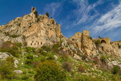 Saint Hilarion Castle, Kyrenia, Cyprus. Kyrenia mountains, Cyprus - March 24, 2016: The Saint Hilarion Castle lies on the Kyrenia mountain range, in Cyprus near royalty free stock images