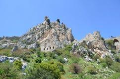 Saint Hilarion Castle on a mountain, Kyrenia Girne district stock photos