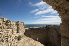 Saint Honorat fortified monastery, France royalty free stock photos