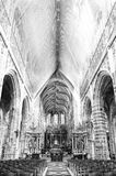 Saint Hubrt's Church Interior. The Interior of the Cathedral in St Hubert, Belgium. Saint Hubrt's Church art and structure inside the church. Black and White Stock Images