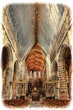 Saint Hubrt`s Church Interior. The Interior of the Cathedral in St Hubert, Belgium. Saint Hubrt`s Church art and structure inside the church. Vintage Style Toned Royalty Free Stock Images