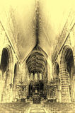 Saint Hubrt`s Church Interior. The Interior of the Cathedral in St Hubert, Belgium. Saint Hubrt`s Church art and structure inside the church. Vintage Style Toned Royalty Free Stock Photo
