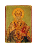 Saint icon. Old wood painting of a saint icon Stock Image