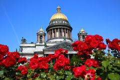 Saint Isaac Cathedral, Petersburg. Saint Isaac Cathedral  (Isaakievskiy Sobor) surrounded by flowers on Saint Issac Square, Saint Petersburg Royalty Free Stock Image