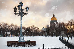 Saint Isaac cathedral in St Petersburg in the early winter morni Royalty Free Stock Image