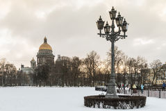 Saint Isaac cathedral in St Petersburg in the early winter morni Stock Photos