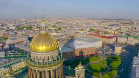 Saint Isaac`s Cathedral aerial view overlooking the historic part of the city.  stock footage