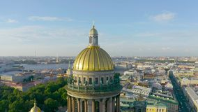 Saint Isaac`s Cathedral aerial view overlooking the historic part of the city.  stock video