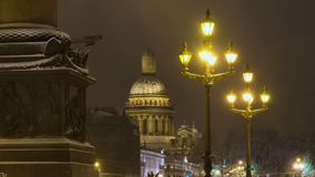 Saint Isaac`s Cathedral and blinking lamp in Saint Petersburg stock video footage