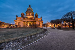 Saint Isaac's Cathedral in the Evening Stock Photo