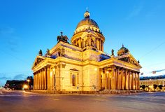 Saint Isaac`s Cathedral or Isaakievskiy Sobor in Saint Petersburg, Russia is the largest Russian Orthodox cathedral in the city.  royalty free stock images