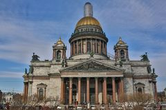 Saint Isaac`s Cathedral or Isaakievskiy Sobor in Saint Petersburg, Russia is the largest Russian Orthodox cathedral. Sobor in the city. It is the largest Stock Photo