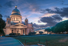 Saint Isaac`s Cathedral or Isaakievskiy Sobor in St. Petersburg. During the White Nights, Russia Stock Photos