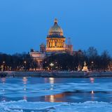 Saint Isaac's Cathedral in the ivening, St. Petersburg Royalty Free Stock Images