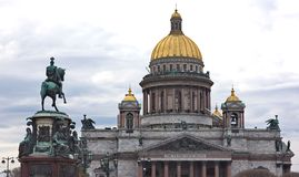 Saint Isaac's Cathedral and the Monument to Emperor Nicholas I, Royalty Free Stock Images