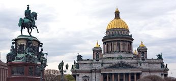 Saint Isaac's Cathedral and the Monument to Emperor Nicholas I, Stock Image