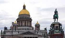 Saint Isaac's Cathedral and the Monument to Emperor Nicholas I, Stock Images