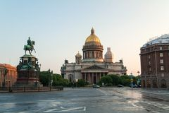 Saint Isaac's Cathedral And Nicolas Stock Photo