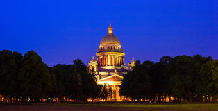 Saint Isaac's Cathedral at night, St. Petersburg Royalty Free Stock Images