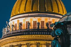 Saint Isaac`s Cathedral Night view city Saint-Petersburg. Royalty Free Stock Images